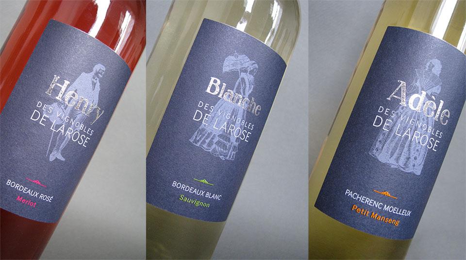 Henry : Bordeaux Rosé Blanche : Bordeaux Blanc  Adèle : Pacherenc Moellleux