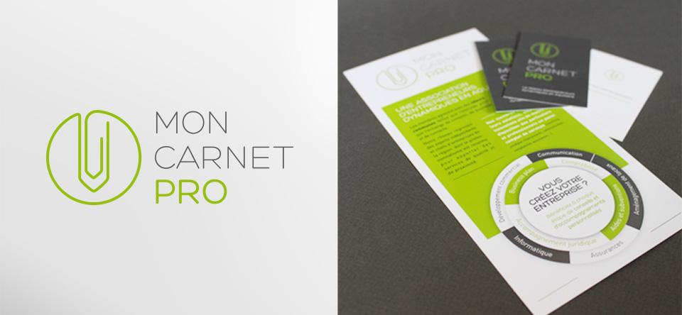 Identité du réseau d'Indépendant Mon Carnet Pro en Aquitaine - logotype, cartes de visites, flyers