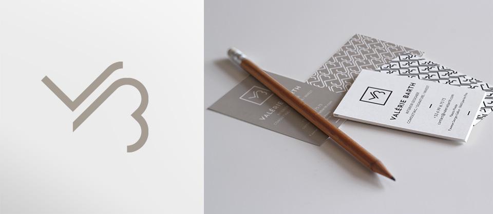 Logo et cartes de visites pour Valérie Barth, architecte d'intérieur - décoratrice - France et international