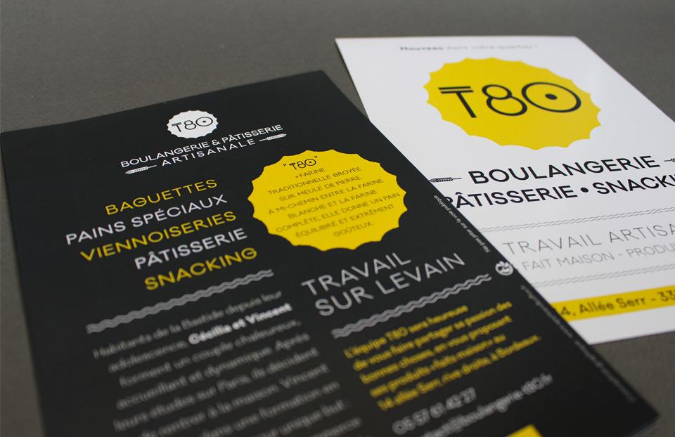 Flyer expliquant le concept innovant de la boulangerie T80