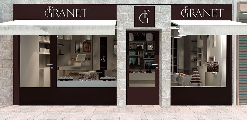 Déclinaison du logotype en facade de boutique