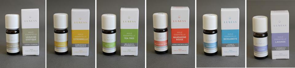 déclinaisons de couleurs pour la gamme de 20 huiles essentielles