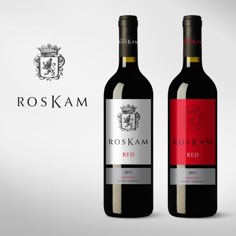 Blason et gamme d'étiquettes pour le vin de la famille Roskam